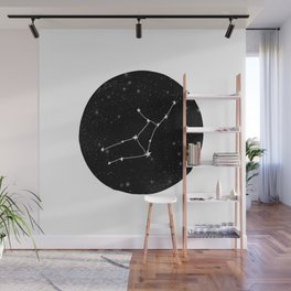 Virgo star sign zodiac star chart constellation black and white Wall Mural
