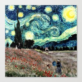 Monet's Poppies with Van Gogh's Starry Night Sky Canvas Print