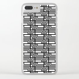 Art Deo Black and White Rectangle and Square Pattern Clear iPhone Case