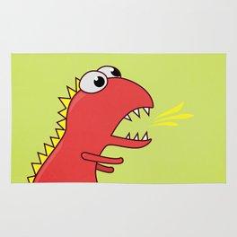 Cute Cartoon Dinosaur With Fire Breath Rug