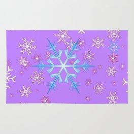 LILAC PURPLE WINTER SNOWFLAKES Rug