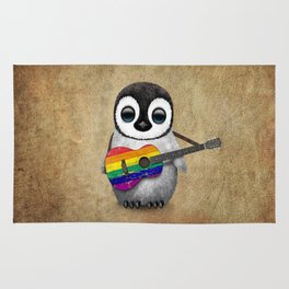Baby Penguin Playing Gay Pride Rainbow Flag Guitar Rug