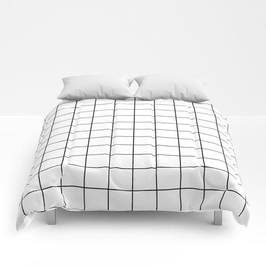 Grid Stripe Lines Black And White Minimalist Geometric Comforters
