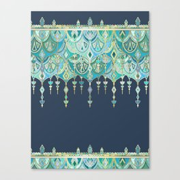 Art Deco Double Drop in Blues and Greens Canvas Print