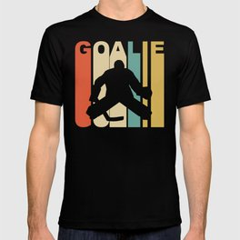 Retro 1970's Style Hockey Goalie Silhouette Sports T-shirt