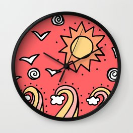 Doodle Art Drawing - Seagulls Rocks and Waves - Coral Pink Wall Clock