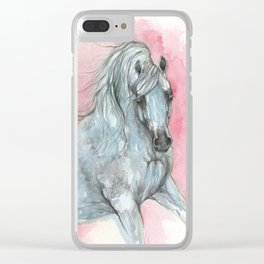 arabian horse on pink background Clear iPhone Case