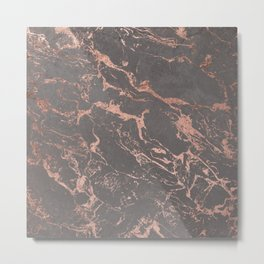 Modern Grey cement concrete on rose gold marble Metal Print