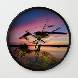 Sunset Take-off - Gull Painted with Sunset Colors Wall Clock
