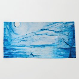 Full moon over shallow water Beach Towel