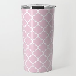 Pink quatrefoil Travel Mug