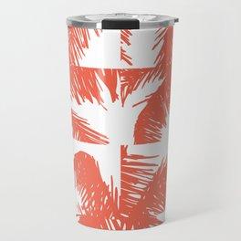 Palm Leaf Pattern Orange Travel Mug