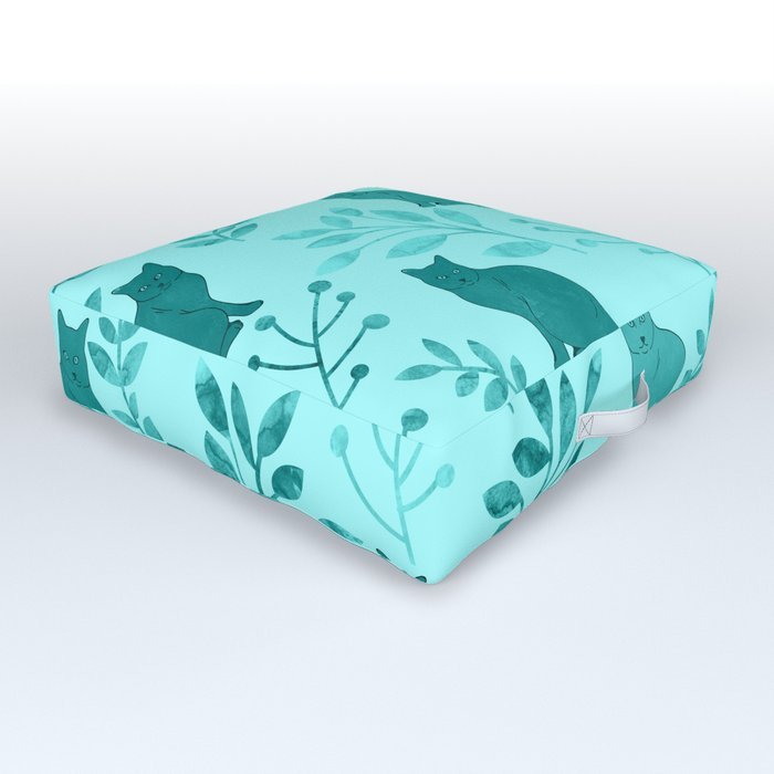 Watercolor Floral and Cat VIII Outdoor Floor Cushion