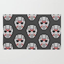 Knitted Jason hockey mask pattern Rug
