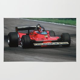 Sketch of F1 Champion Gilles Villeneuve - year 1979 car 312 T4 Rug