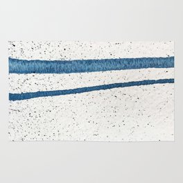 Parallel Universe [horizontal]: a pretty, minimal, abstract piece in lines of vibrant blue and white Rug