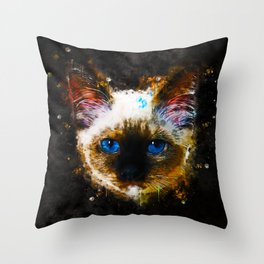 holy birma cat blue eyes splatter watercolor Throw Pillow