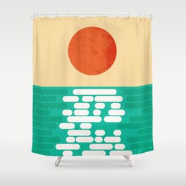 Sun over the sea Shower Curtain