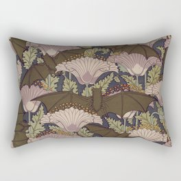 Vintage Art Deco Bat and Flowers Rectangular Pillow