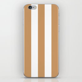 Brown Yellow - solid color - white vertical lines pattern iPhone Skin