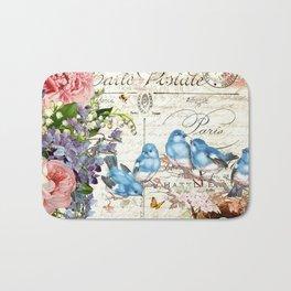 Vintage Postcard with Bluebirds Bath Mat