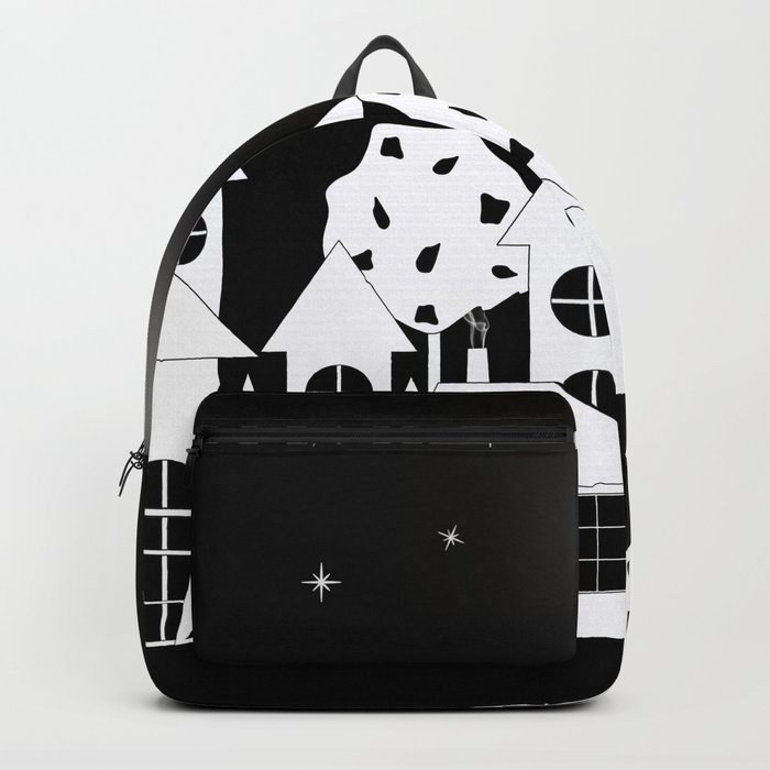 Fabulous houses, trees against the night sky. Backpack