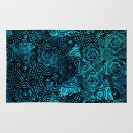Starry Deep Blue Night Sky , Abstract Geometric Pattern with Moon Lit Domino Stars Rug