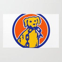 Retriever Dog Biting Broken Chain Mascot Rug