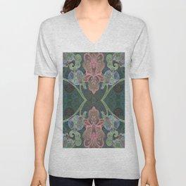 Elegant Detailed Orchid Meditation Pattern Unisex V-Neck