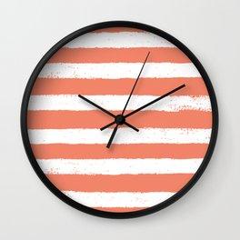 Coral Stripe Pattern Wall Clock