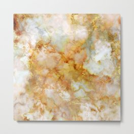 Gold Rippled Marble Metal Print