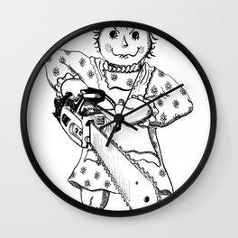 Raggedy Ann with a Chainsaw Wall Clock