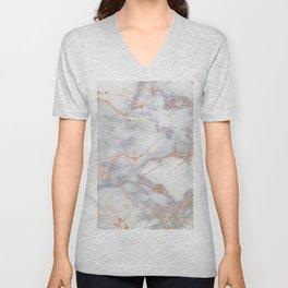Gray Marble Rosegold  Glitter Pink Metallic Foil Style Unisex V-Neck
