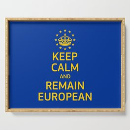 Modern Yellow Blue Keep Calm Crown Europe Vector Serving Tray