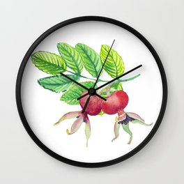 Branch leaves with a dog rose watercolor Wall Clock
