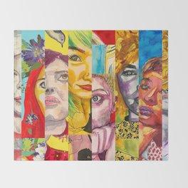 Female Faces Portrait Collage Design 1 Throw Blanket