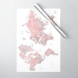 Dusty pink and grey detailed watercolor world map Wrapping Paper