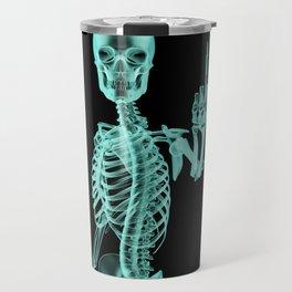 X-ray Bird / X-rayed skeleton demonstrating international hand gesture Travel Mug