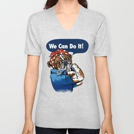 We Can Do It English Bulldog Unisex V-Neck