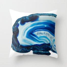 Blotchy Blue Brain Agate Slice Throw Pillow