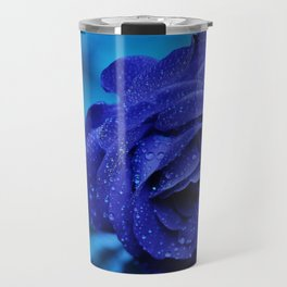 Blue Rose With Rain Drops Travel Mug