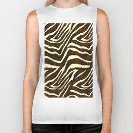 Animal Print Zebra in Winter Brown and Beige Biker Tank