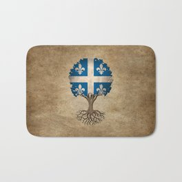 Vintage Tree of Life with Flag of Quebec Bath Mat