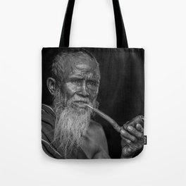 Portrait of an Elderly Man Smoking Pipe Tote Bag