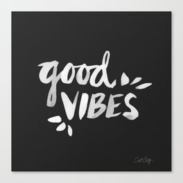 Good Vibes – White Ink Canvas Print