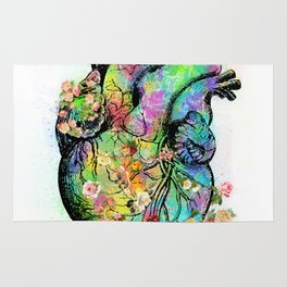 Flowers colorful heart watercolor Rug