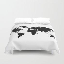 Black and White world map Duvet Cover