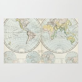 Old Map of The Globe Rug