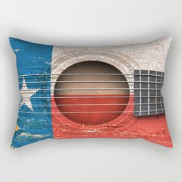 Old Vintage Acoustic Guitar with Texas Flag Rectangular Pillow