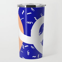 Peach + Blue Abstract Pattern Travel Mug